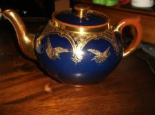 ANTIQUE G&S BURSLEM HIGHLY GILDED COBALT BLUE TEAPOT CRANES & SWAGS